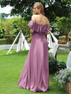 Women'S A-Line Off Shoulder Ruffle Thigh Split Bridesmaid Dress-Purple Orchid 2