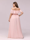 Women'S A-Line Off Shoulder Ruffle Thigh Split Bridesmaid Dress-Pink 9