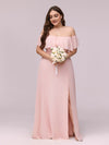 Women'S A-Line Off Shoulder Ruffle Thigh Split Bridesmaid Dress-Pink 7