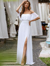 Women'S A-Line Off Shoulder Ruffle Thigh Split Bridesmaid Dress-White 1