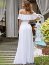 Women'S A-Line Off Shoulder Ruffle Thigh Split Bridesmaid Dress-White 2