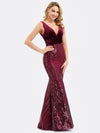 Women'S Double V-Neck Patchwork Bodycon Mermaid Dress-Burgundy 4