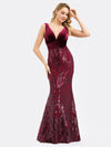 Women'S Double V-Neck Patchwork Bodycon Mermaid Dress-Burgundy 7
