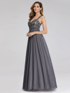 Women'S V-Neck Sleeveless Floral Lace Bridesmaid Dress-Grey 3