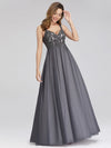 Women'S V-Neck Sleeveless Floral Lace Bridesmaid Dress-Grey 1
