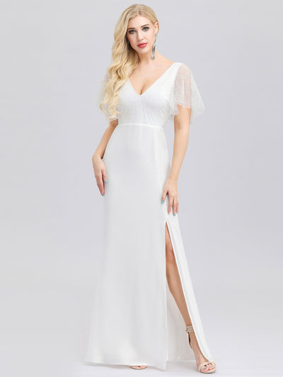 V-Neck Wedding Dress with Sleeves and Thigh High Split