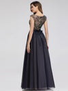 Women'S A-Line Cap Sleeve Patchwork Evening Party Maxi Dress-Navy Blue 3