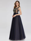 Women'S A-Line Cap Sleeve Patchwork Evening Party Maxi Dress-Navy Blue 2