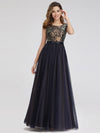 Women'S A-Line Cap Sleeve Patchwork Evening Party Maxi Dress-Navy Blue 4