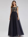 Women'S A-Line Cap Sleeve Patchwork Evening Party Maxi Dress-Navy Blue 1