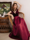 Women'S A-Line V-Neck Velvet Patchwork Evening Party Maxi Dress-Burgundy 1