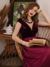 Women'S A-Line V-Neck Velvet Patchwork Evening Party Maxi Dress-Burgundy 2