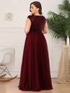 Deep V Neck Floor Length Sequin Cocktail Dress-Burgundy 7