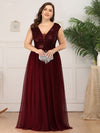 Deep V Neck Floor Length Sequin Cocktail Dress-Burgundy 9