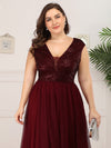 Deep V Neck Floor Length Sequin Cocktail Dress-Burgundy 10