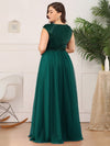 Deep V Neck Floor Length Sequin Cocktail Dress-Dark Green 10
