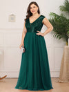 Deep V Neck Floor Length Sequin Cocktail Dress-Dark Green 11