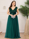 Deep V Neck Floor Length Sequin Cocktail Dress-Dark Green 12
