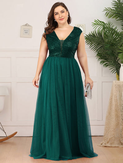 Plus Size Deep V Neck Floor Length Sequin Cocktail Dress