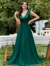 Deep V Neck Floor Length Sequin Cocktail Dress-Dark Green 1