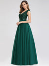Deep V Neck Floor Length Sequin Cocktail Dress-Dark Green 5