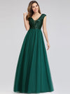 Deep V Neck Floor Length Sequin Cocktail Dress-Dark Green 4