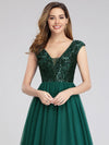 Deep V Neck Floor Length Sequin Cocktail Dress-Dark Green 7