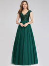 Deep V Neck Floor Length Sequin Cocktail Dress-Dark Green 3
