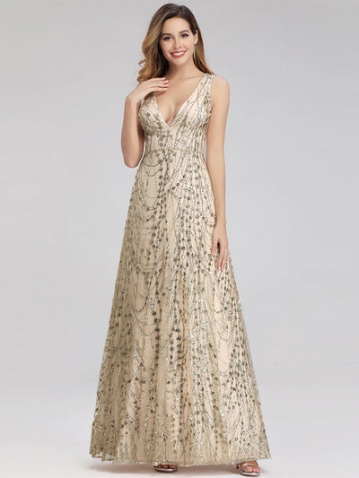 Women's A-Line V-Neck Glitter Evening Party Maxi Dress