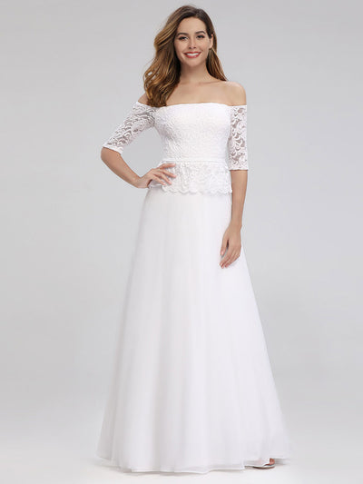 Romantic Off-Shoulder Floor Length Wedding Dress
