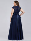 Women'S Cap Sleeve Floral Lace Wedding Guest Dress-Navy Blue 2