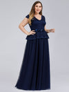 Women'S Cap Sleeve Floral Lace Wedding Guest Dress-Navy Blue 3