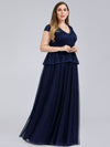Women'S Cap Sleeve Floral Lace Wedding Guest Dress-Navy Blue 4