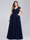 Women'S Cap Sleeve Floral Lace Wedding Guest Dress-Navy Blue 1