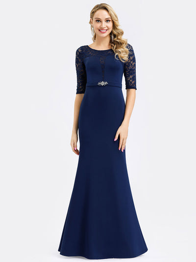Elegant Fishtail Bridesmaid Dress with Lace Sleeves