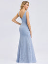 Women'S Double V-Neck Floral Lace Dress Floor-Length Mermaid Dress-Sky Blue 2