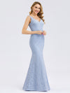 Women'S Double V-Neck Floral Lace Dress Floor-Length Mermaid Dress-Sky Blue 3
