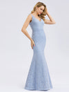 Women'S Double V-Neck Floral Lace Dress Floor-Length Mermaid Dress-Sky Blue 4
