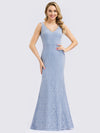 Women'S Double V-Neck Floral Lace Dress Floor-Length Mermaid Dress-Sky Blue 1