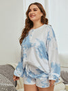 Women'S Casual Tie-Dye Pajamas Loungewear Set-Sky Blue 11
