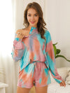 Women'S Casual Tie-Dye Pajamas Loungewear Set-Green 4