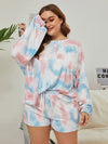 Women'S Casual Tie-Dye Pajamas Loungewear Set-Light Blue 8