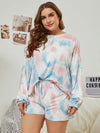 Women'S Casual Tie-Dye Pajamas Loungewear Set-Light Blue 9