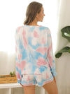 Women'S Casual Tie-Dye Pajamas Loungewear Set-Light Blue 2