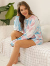 Women'S Casual Tie-Dye Pajamas Loungewear Set-Light Blue 3