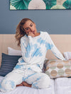 Feminine Tie-Dye Loungewear Track Suit For Sports-Sky Blue 6