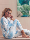 Feminine Tie-Dye Loungewear Track Suit For Sports-Sky Blue 5