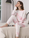 Feminine Tie-Dye Loungewear Track Suit For Sports-Pink 5