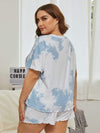 Casual Round Neck Tie-dye Loungewear Set Pajamas-Sky Blue 7