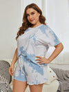 Casual Round Neck Tie-dye Loungewear Set Pajamas-Sky Blue 9